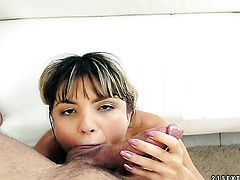 Brunette Doris Ivy is horny as hell and sucks dudes rock hard meat pole with wild passion