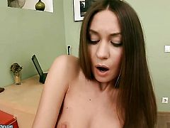 Brunette Sweet Lana cant stop playing with her slit