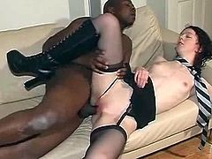 Rough sex scene with skinny babe and her black friend