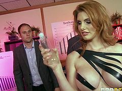 Sexy Lilith has a perfect, round pair of tits that need to be shown off. She walks into the meeting and undoes her blouse. Her tits are all oiled up now as she climbs on the table and lets the guys lick her nipples.