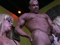 Filthy blond haired bitches get their mouths drilled on the sofa by the big guy. Watch at this sluts in Fame Digital sex video.