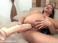 A nasty fuckin' slut takes a hard cock in her motherfuckin' pussy only it's a cock-shaped dildo and she's on her own. Check it out!