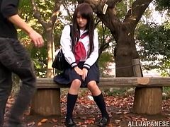 This beautiful Japanese babe gets her nice pussy fingered by some dude at the park. Hit play and enjoy it right here at sex3.com!