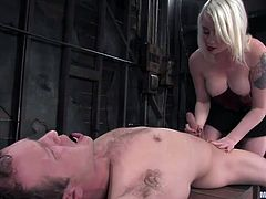 Lorelei Lee is going to take control of this little slut's cock because he has no choice. She ties him tightly in rope and straps him to a wooden crate so he can't move while she tortures him. She runs her fingers all over his body and teases him; then she jacks him off and teases him with her ass and pussy.