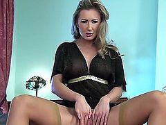 Watch the cool-looking scene with magnetic girlie Sammi Tye. The babe with wonderful forms of body gonna stay in stockings and high heels before rubbing wet twat.