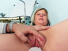 Her tight vag is being well stretched in one nasty gyno exam