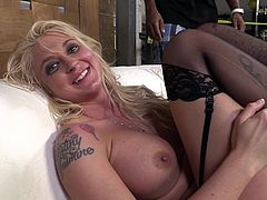 Hot blonde milf Leya Falcon wearing stockings has just been brutally fucked. She demonstrates her sore pussy and hugs her fucker.