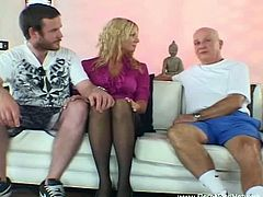 This blonde babe's husband has no problem with his wife fucking other men for as long as he can watch. A stranger nails her pussy and fucks her mouth while he watches.