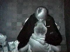 At midnight, sexual aroused couples on the side of building were voyeured! They don't have a fucking clue that they are being watche by our secret spy camera!
