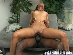 Kinky and attractive black bitch with dark hair and awesome ass rides a tool and gets fucked in mish pose. Have a look in steamy My XXX Pass sex clip.