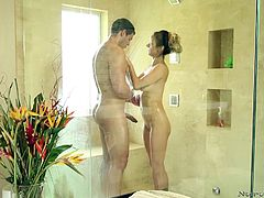 Hispanic hottie Nadia knows how to make a man feel good. She's a professional and proves it with this guy. Here they are in the shower cabin, where she's giving the dude one hell of a slippery massage. She firm his muscles and his dick gently, but firmly and then, they move into the living room for more fun!