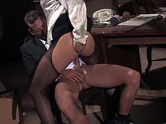 This fuckin' nasty slut sucks on a hard cock and then gets it shoved balls deep into her fuckin' pussy check it out right here!
