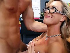 One of a kind lusty and cock addicted blonde milf Brandy Love with big jaw dropping hooters and slim fit body in hot lingerie gives head to muscled rebel Johnny Sins.