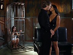 Get excited watching a hot couple going extremely hardcore together while a sweet brunette masturbates locked in a cage. They like playing dirty games!