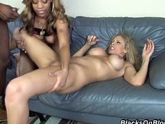 Press play to watch a blonde cougar and an ebony MILF, with nice asses and big boobs, while they get drilled in a crazy threesome.