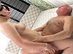 Enjoy watching how thick mature babe with massive ass gets laid with fat grey haired old man. Mommy gives blowjob and rides that old boner like a cowgirl.