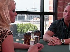 Stormy Daniels knows exactly what she wants. She wants to have sex with the guy, but she does not want to look like a slut. So, she has to drink coffee and talk to a guy before wild sex.