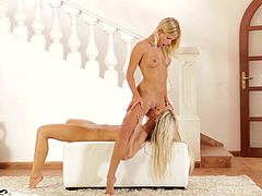 nubile blondes explore each other's slim bodies