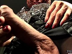 Sara has one of the biggest and most throbbing cocks of any shemale around. She lifts up her skirt to reveal her massive member and then makes her boy toy give her a blowjob. He starts off alright, but she is not satisfied. She needs more so she starts to face fuck him hard. His throat will be sore tomorrow.