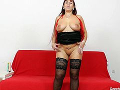 Big boobs cougar Darja wants to show us something in exchange of our attention. The slut starts out by pulling down her zipper and revealing her big, sexy breasts. Then she makes herself comfortable, spreads her thighs and gapes her juicy pussy. Yeah, look at it, so delicious and welcoming, it makes you drool!