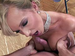 Hot blonde milf Cindy Dollar shows her amazing smooth asshole to some guy and lets him finger it. Then they have anal sex in missionary position and Cindy gets cum on her butt.