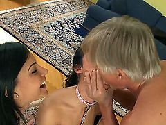 Enjoy threesome scene with two depraved hoochies Abbie Cat and Bettina DiCapri playing with one cock