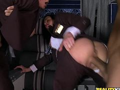 Gorgeous chicks in stewardess uniform suck huge dick standing on their knees. Then girls get fucked hard through holes in their skirts.