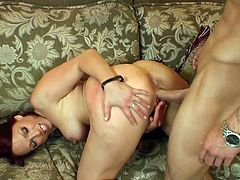 A lustful MILF takes off guy's pants and gives him a blowjob. Then this curvy MILF gets banged in a reverse cowgirl and a doggystyle positions. Nikki also takes cum in her mouth.