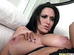 Mature Jelena Jensen with big ass and smooth bush cant stop dildoing her pussy