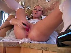 Hot blonde bitch Alison Angel wearing stockings is getting naughty in the bathroom. She fingers her snatch ardently and then slams it with a dildo.