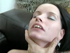 Unfortunately this long and black haired wanton chick with big sexy ass can not give proper deep throat. Her ugly wrong shaped teeth prevent her from doing it in a proper manner. Horny guys prefer to fuck her from behind. Watch this hot brunette in Fame Digital porn video!