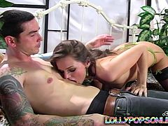 Gorgeous brunette in nylon stockings kisses a guy and gives him a nice blowjob. Then Tori gets fucked in a cowgirl and a reverse cowgirl positions.