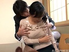 A sex hungry Japanese MILF gets undressed during a business meeting. A man licks Yukino's vagina and then fucks her in a missionary position.