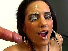 Hardcore action with a nasty brunette Tia Cyrus who gets a sperm on her face