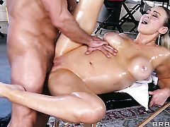 Toni Ribas touches the hottest parts of gorgeous Abbey Brookss body before he drills her mouth