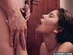 Kinky and slutty brunette with awesome curve sucks the dick