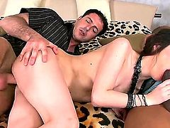 Awesome impudent brunette slut Stacy Snake having fun with two huge cocks at the same time