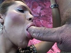Long and red haired rapacious TS sex pot with big boobs posed mish style on sofa. Her insatiable fuck partner sucked her long penis passionately. Watch this dirty TS hammering in Fame Digital sex video