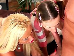 Crazy threesome action with nasty girlfriends named Angel Piaf and Sharon Pink