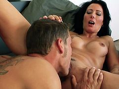 Horny dark-haired mom Zoey Holloway wearing panties and bra gives a blowjob to some man. Then they fuck in cowgirl, side-by-side and other positions and enjoy it much.