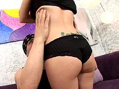 Prepare your cock for this brunette, with a nice ass wearing black panties, while she goes hardcore with a tattooed dude and moans stridently.