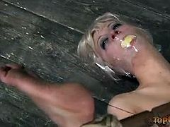 Top Grl brings you a hell of a free porn video where you can see how the nasty blonde slave Cherry Torn gets tortured by the evil Sister Dee til she cums very hard.