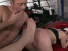 Hardcore feet fetish. Staring porn stars Mira,Rocco Siffredi and Sindy Vega. Amazing threesome action as Rocco fucks a chick with big tits, as she licks on a wet pussy, and, at the same time Rocco sucks on her toes.