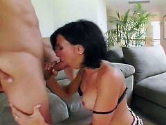 this hot slut is getting ready to suck on a juicy cock, then get pounded by it!
