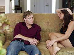 Milf Kaylynn is a sensual lady, that craves for a young male, to quench her sex drive. The slutty beauty approaches Michael in her very sensual way and turns him on. Seeing how horny she is, the dude takes full advantage of the situation and eats her pussy right there, on the couch. Wanna see a slutty milf stuffed with cock?