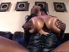 Dildo-sharing busty black sluts