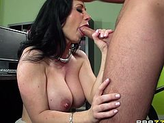 This dark haired beauty approached her boss for a raise. The only way she will give it to her is, if she sucks on his thick member. Once she is down on her knees, she works every part of his cock with her mouth. She even sucks his balls.