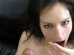 Rocco Siffredi adores blowjob! So many chicks suck his cock but theis girl is unforgettable! Her wet mouth and pretty tongue work so passionately that he cums intense!