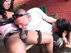 Damn this guy is fucking lucky. He gets to suck and be sucked by two sensual shemales. Raffaella and Mila are black and hot. Their cocks need sucking so the man starts working on them. He takes care of one of the shemales while the other one milks his dick with her lips
