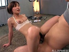 Kaho Kasumi is a sexy fitness instructor. She kisses a guy and also gets her big boobs licked. This stunning Japanese babe gets fucked hard and deep right in the gym.